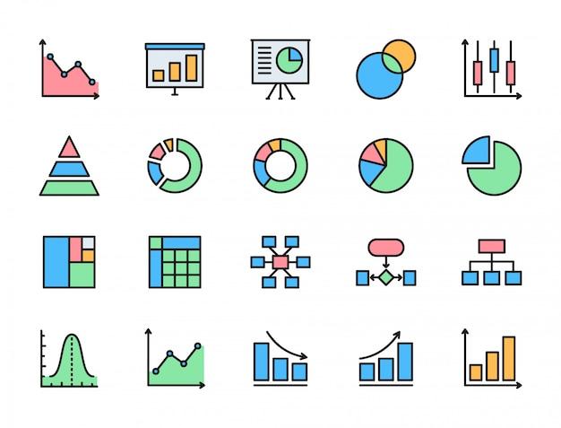 Set van grafiek en grafiek egale kleur pictogrammen. cirkeldiagram, kolom, presentatie