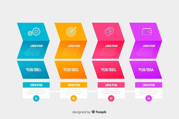 Set van grafieken tijdlijn collectie concept