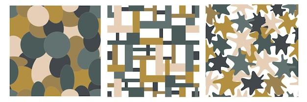 Set van grafische naadloze patronen met abstracte vormen van vierkanten en cirkels en andere vormen