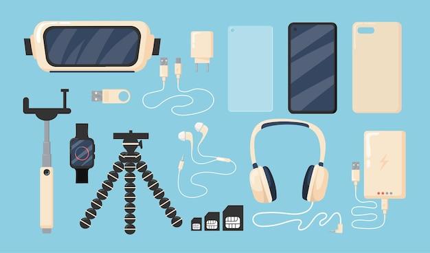 Set van grafische telefoon accessoires vlakke afbeelding