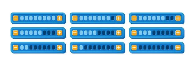 Set van grappig kleurrijk spel ui voortgangsbalkpaneel met knop voor verhogen en verlagen