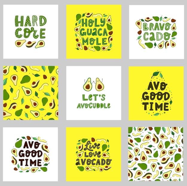 Set van grappige avocado citaten