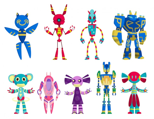 Set van grappige cartoon robots meisjes en jongens speelgoed. leuke retro robots. robot voor kinderen. vriendelijk android-robotskarakter.