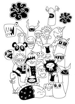 Set van grappige coole monsters, aliens of fantasiedieren