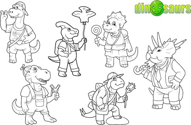 Set van grappige dinosaurussen