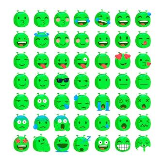 Set van grappige emoji's van buitenaardse gezichten.