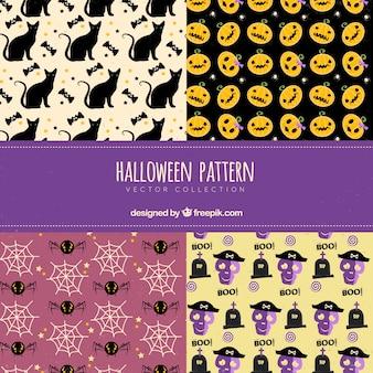 Set van grappige halloween patronen