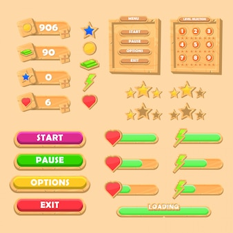 Set van grappige houten game ui kit