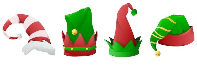 Set van grappige kerst elf hoeden hoeden voor elfjes