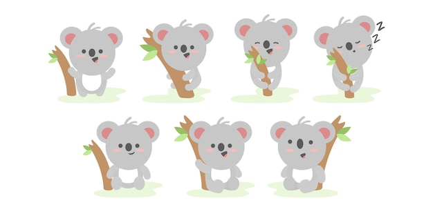 Set van grappige koala in verschillende acties en poses illustratie stripfiguur