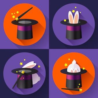 Set van grappige konijn in een magische hoed