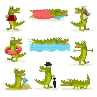 Set van grappige krokodil in verschillende acties. groen roofzuchtig reptiel. grappig gehumaniseerd dier
