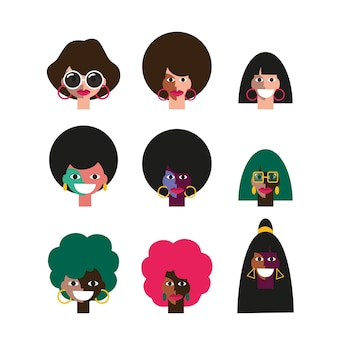 Set van grappige mensen gezichten van disco 70s disco party mensen karakters