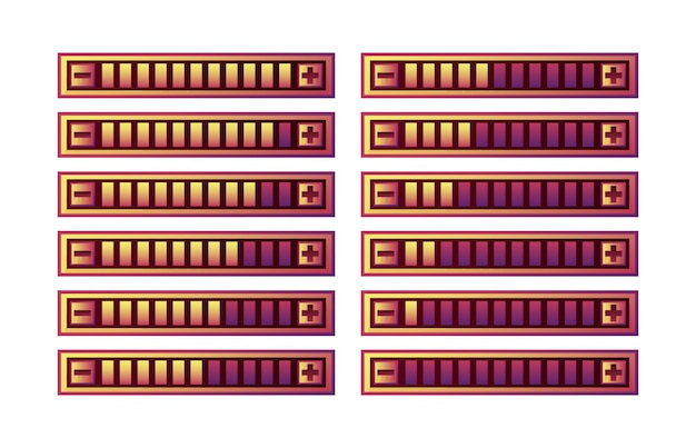 Set van grappige paarse spel ui voortgangsbalk paneel met verhogen en verlagen knop