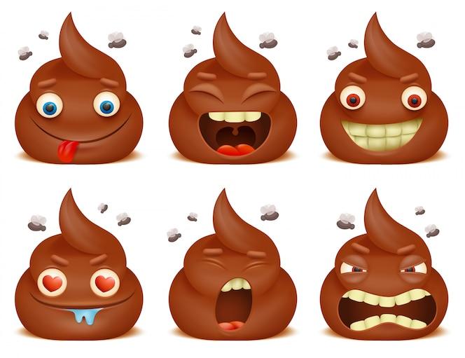 Set van grappige poo emoticon stripfiguren.