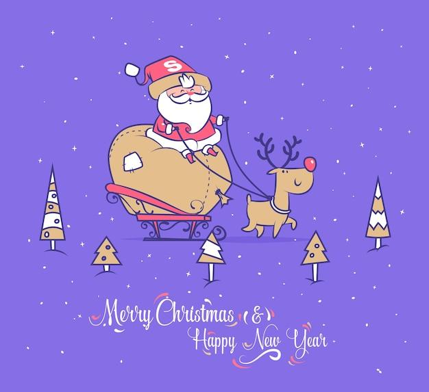 Set van grappige santa illustraties. de kerstman draagt cadeautjes voor kinderen op een slee met rendieren.