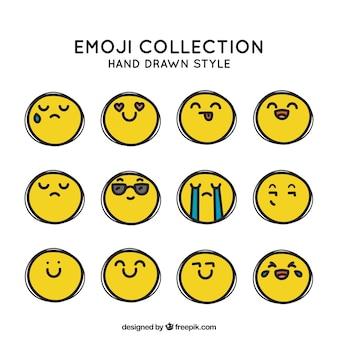 Set van grappige smileys in de hand getekende stijl