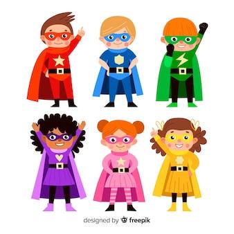 Set van grappige superhelden
