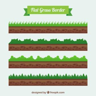 Set van gras en aarde randen in plat design