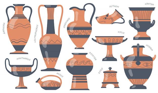 Set van griekse aardewerk kannen