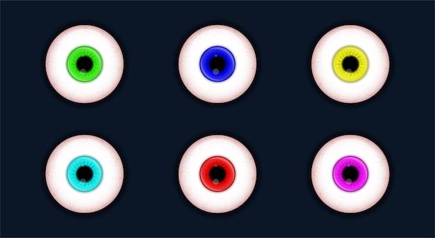 Set van griezelige ogen halloween enge oogbol collectie geïsoleerd op een witte achtergrond