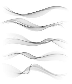 Set van grijs abstract golf ontwerpelement.