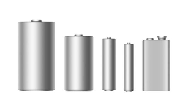 Set van grijs zilver metallic glanzende alkaline batterijen van verschillende grootte aaa, aa, c, d, pp3 en 9 volt batterij voor branding close-up geïsoleerd op witte achtergrond