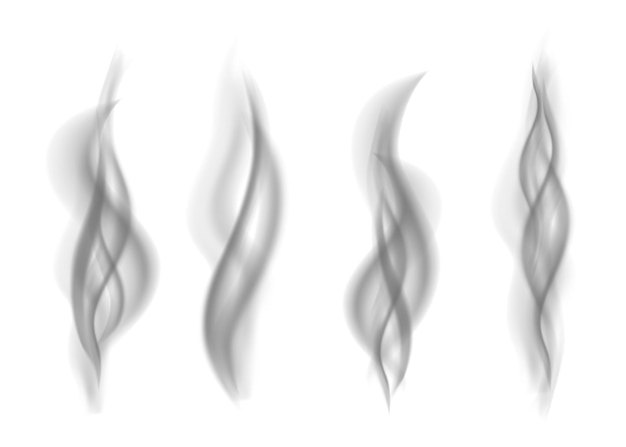 Set van grijze rook geïsoleerd op een witte achtergrond. donkere stoom. realistische smog vector textuur.