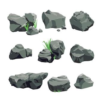 Set van grijze stenen geïsoleerd op een witte achtergrond.