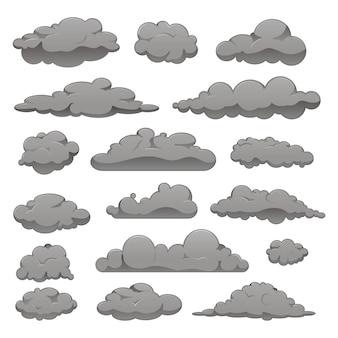 Set van grijze wolken van verschillende vormen.