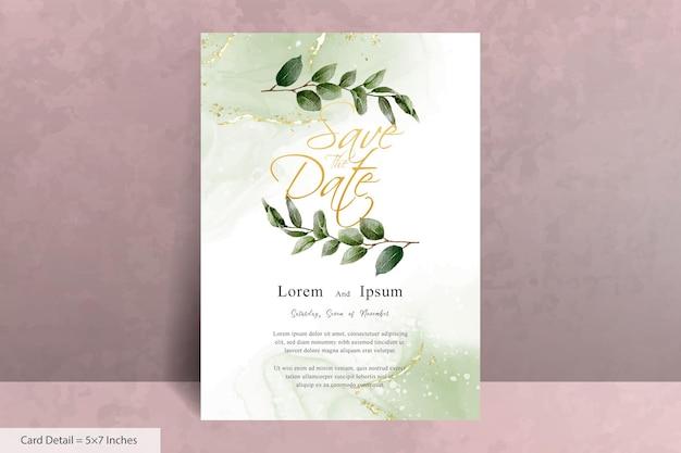 Set van groen aquarel bruiloft uitnodiging sjabloon met handgetekende bladeren