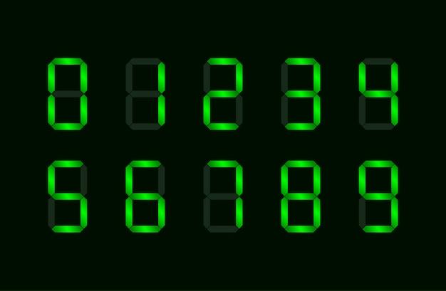 Set van groen digitaal nummer dat bestaat uit zeven segmenten