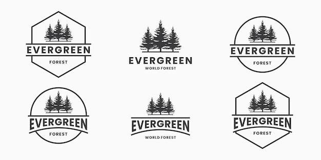 Set van groenblijvende, dennenboom logo ontwerp vector