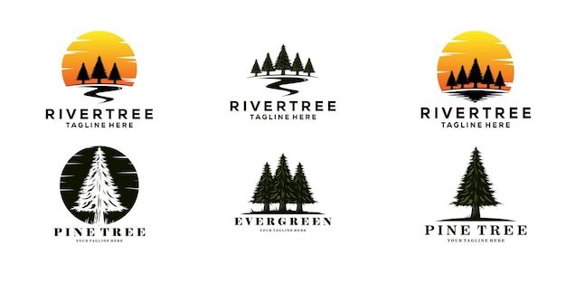 Set van groenblijvende dennenboom logo vintage met rivier kreek vector embleem illustratie ontwerp.