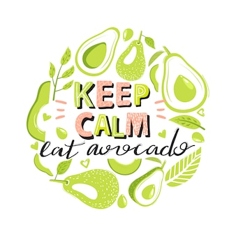 Set van groene avocado fruit en trendy belettering.
