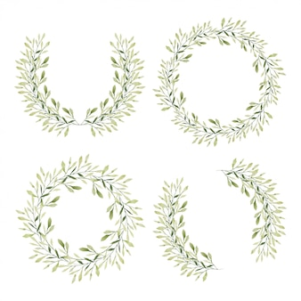Set van groene blad cirkel frame in aquarel stijl