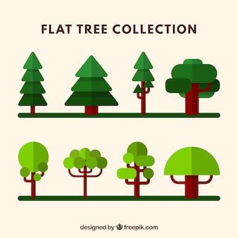 Set van groene bomen in plat design