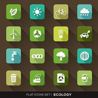 Set van groene ecologie flat pictogrammen met lange schaduw