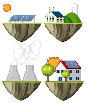 Set van groene elektriciteitscentrale