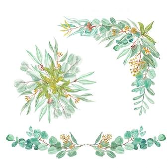 Set van groene eucalyptus bladeren bloemstuk en boeket