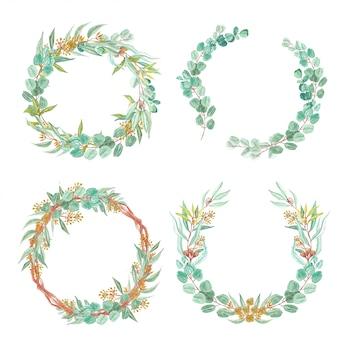 Set van groene eucalyptus laat bloemen krans