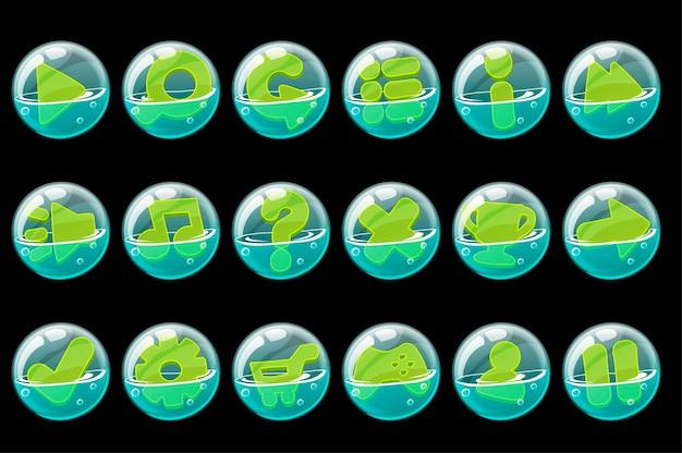 Set van groene knoppen in zeepbellen voor de interface.