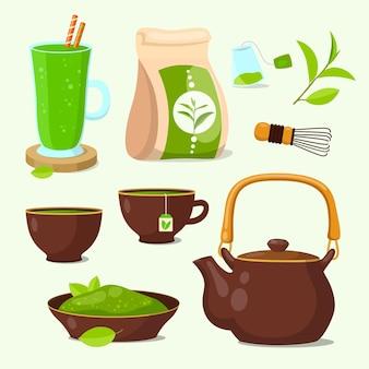 Set van groene matcha thee