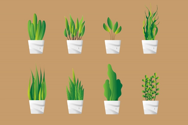 Set van groene plant pot in flat