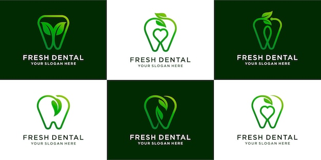 Set van groene tandheelkundige met blad natuur zorg logo ontwerp tandheelkundige premium vector