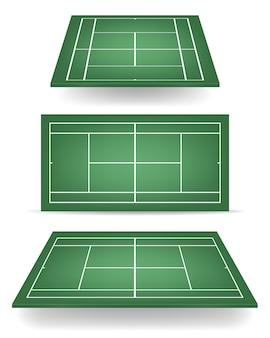 Set van groene tennisbanen met perspectief.