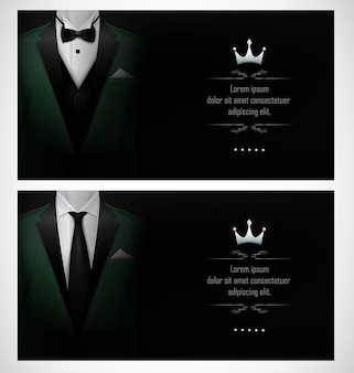 Set van groene tuxedo visitekaartjesjablonen