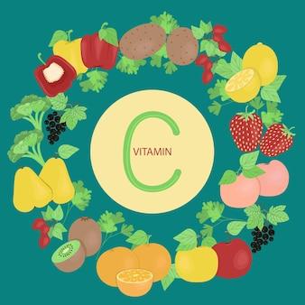 Set van groenten en fruit die vitamine c bevatten groenten en fruit vectorillustratie