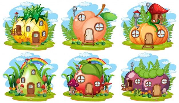 Set van groenten en fruit fairy house