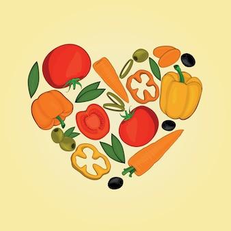 Set van groenten in hart vormen